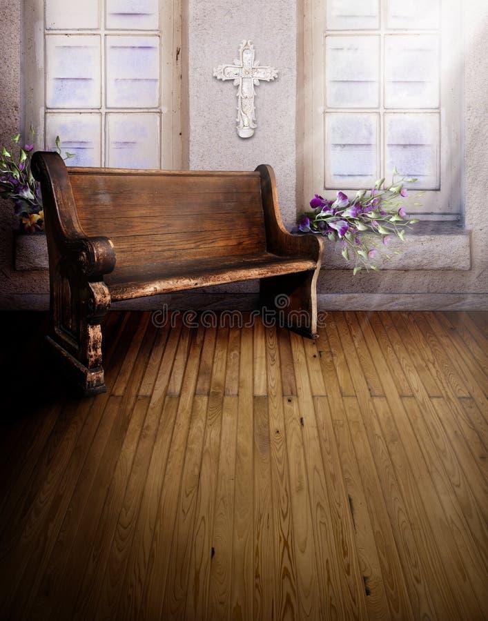 Banco di chiesa della chiesa del santuario immagini stock