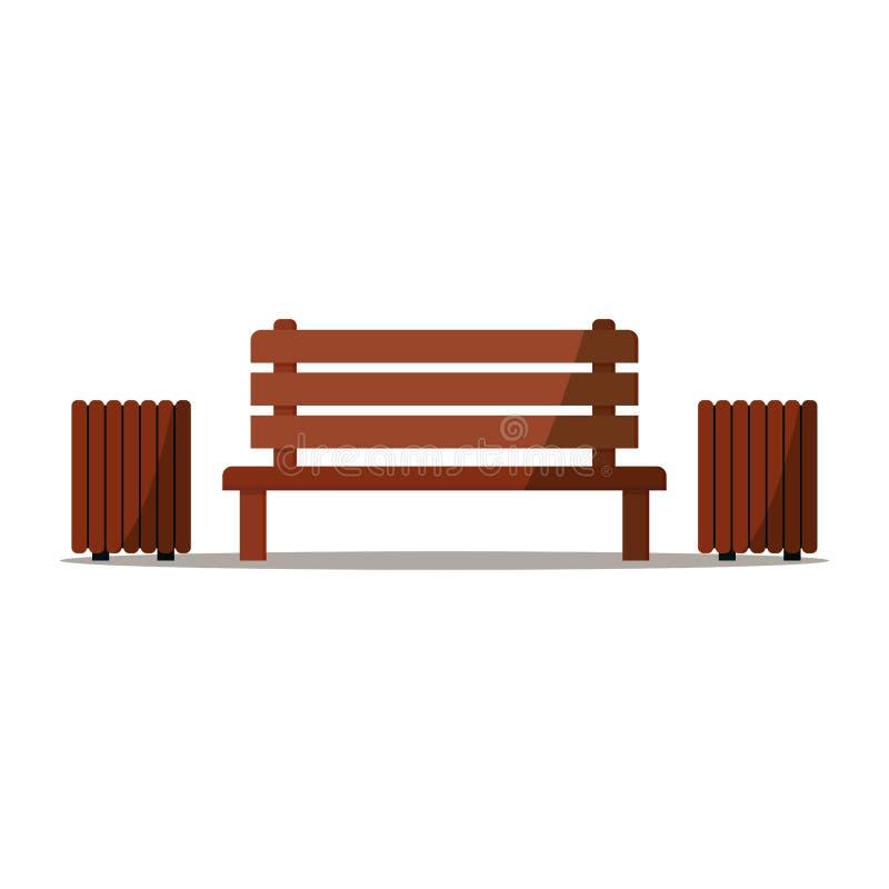 Banco di legno con un posto di due latte di rifiuti di resto e rilassarsi nel parco illustrazione vettoriale