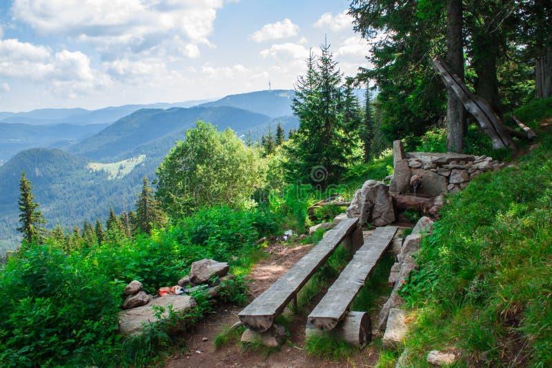 Banco di legno di picnic in mezzo alla foresta ed alle montagne della Bulgaria e di una fontana di pietra fotografie stock