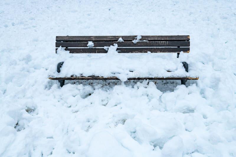 Banco di legno vuoto coperto in neve nell'inverno fotografia stock