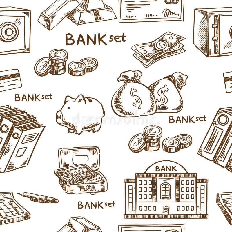 Banco e esboço do negócio sem emenda ilustração stock