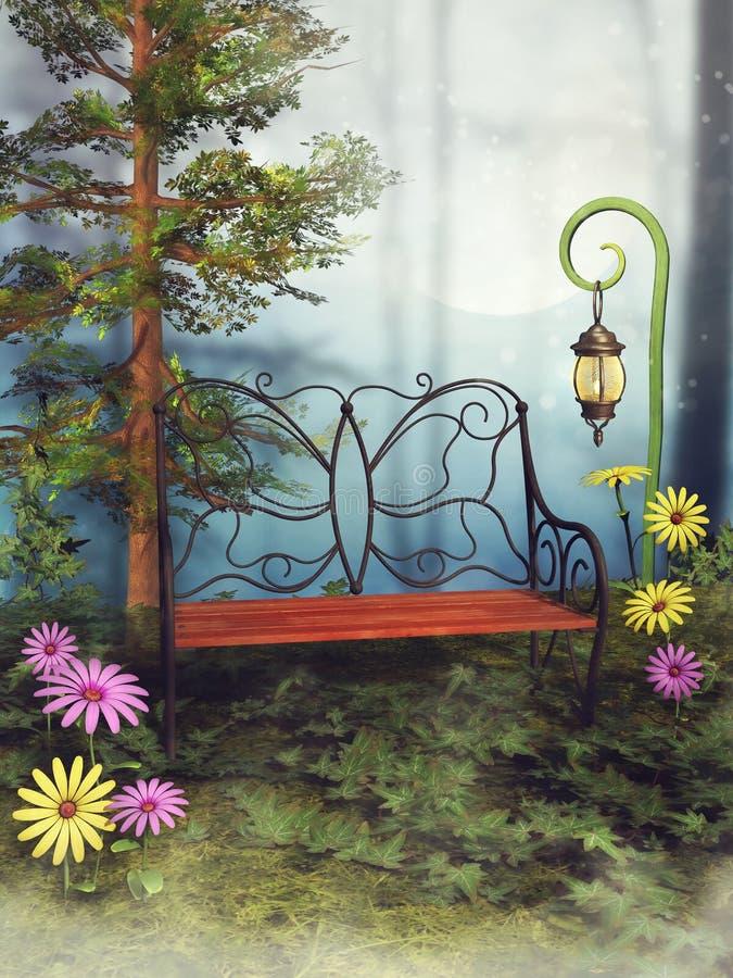 Banco e fiori di fantasia royalty illustrazione gratis