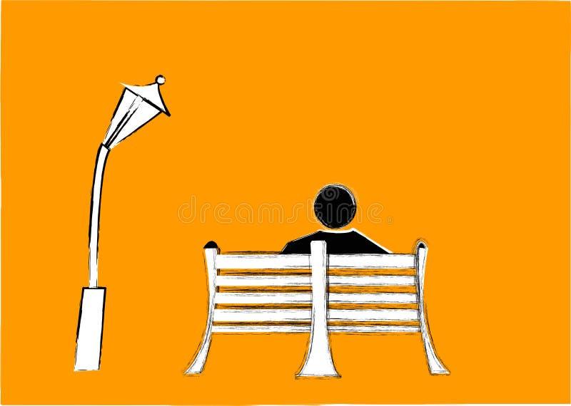 Banco e lâmpada do homem fotografia de stock