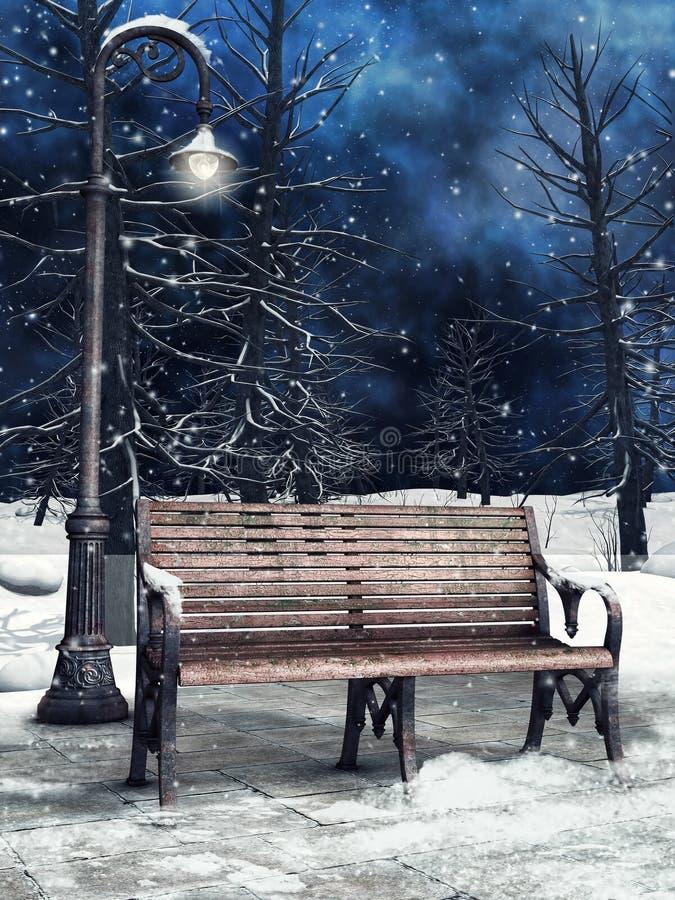 Banco e lanterna nell'inverno royalty illustrazione gratis