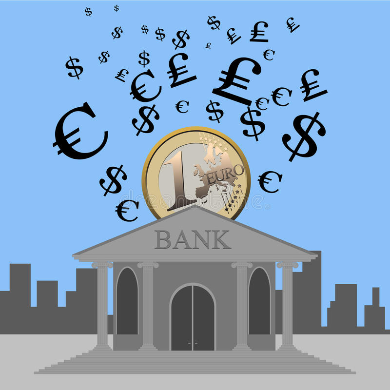 Banco e moeda ilustração royalty free