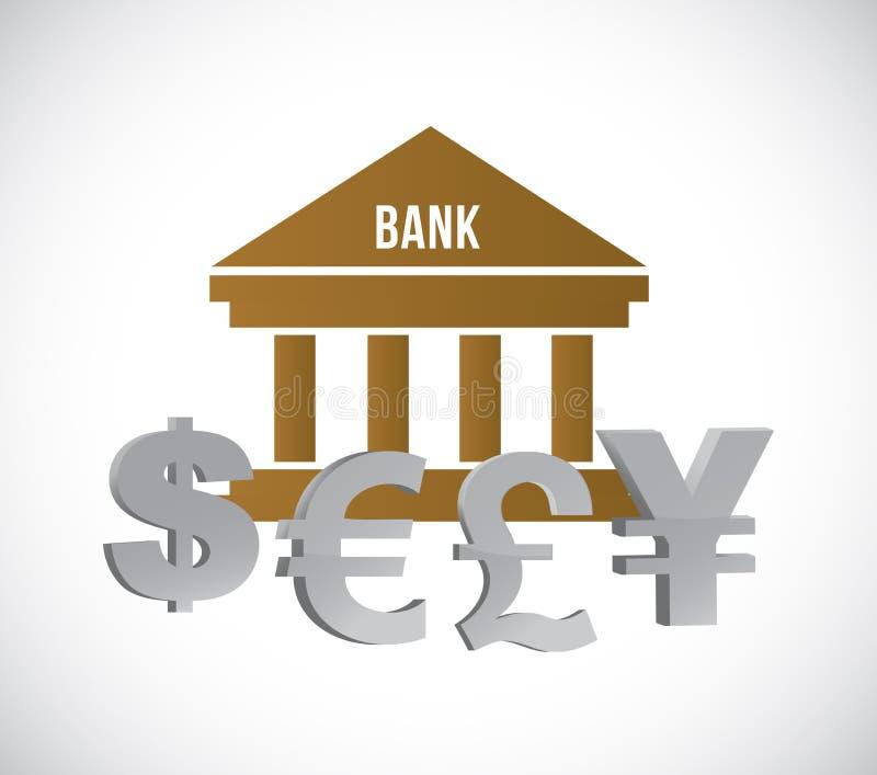 Banco e moeda internacional Conceito do negócio ilustração royalty free