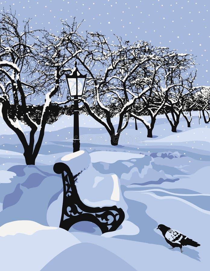 Banco en un parque y un tiempo nevoso libre illustration
