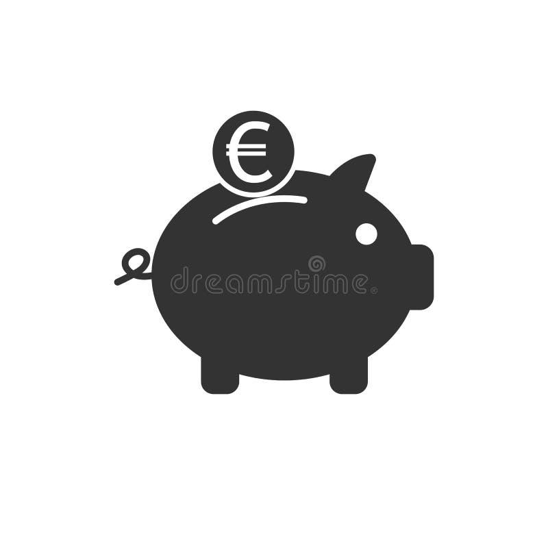 Banco, finanzas, dinero, cerdo, icono de ahorro Ejemplo del vector, diseño plano ilustración del vector