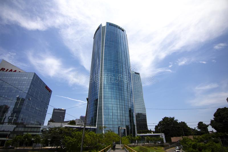 Banco GNB building, high skyscraper in San Isidro stock photos