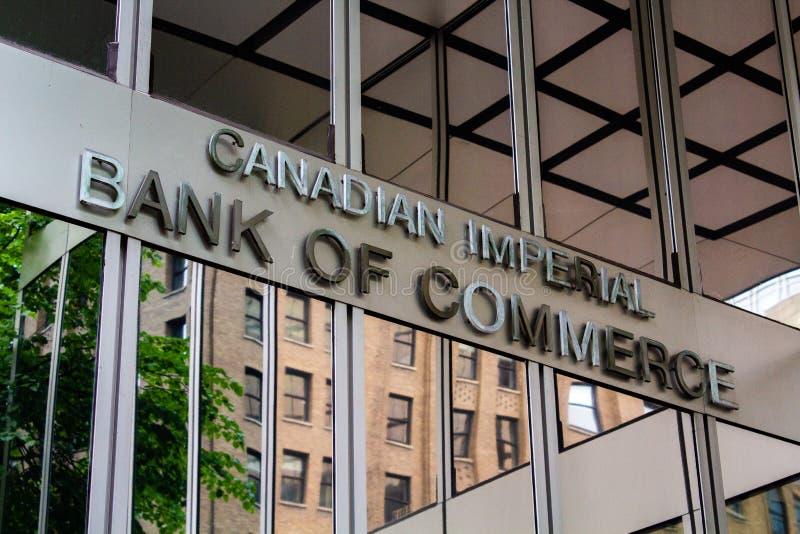 Banco imperial canadense de CIBC do sinal do comércio imagem de stock