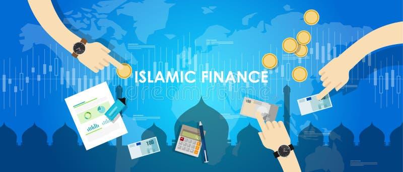 Banco islámico del sharia del concepto de la gestión de dinero de actividades bancarias del Islam de la economía de las finanzas stock de ilustración