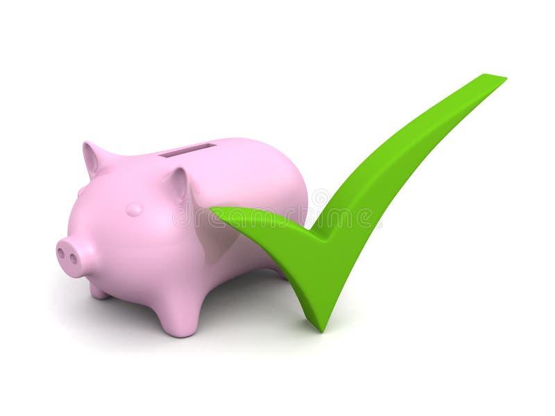 Banco leitão do dinheiro com a caixa de verificação verde imagem de stock