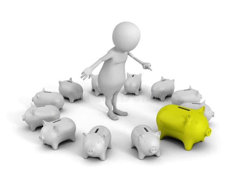 Banco leitão verde bem escolhido do dinheiro do homem 3d branco ilustração do vetor