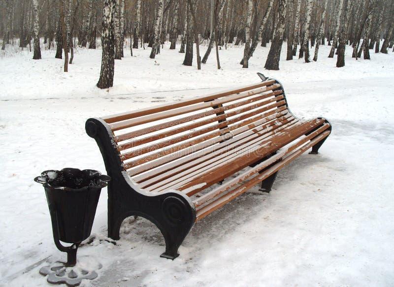 Banco no inverno imagem de stock