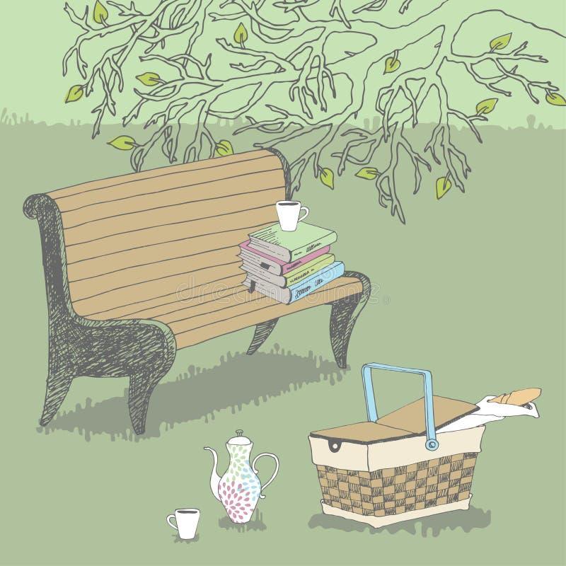 Banco no parque ilustração stock