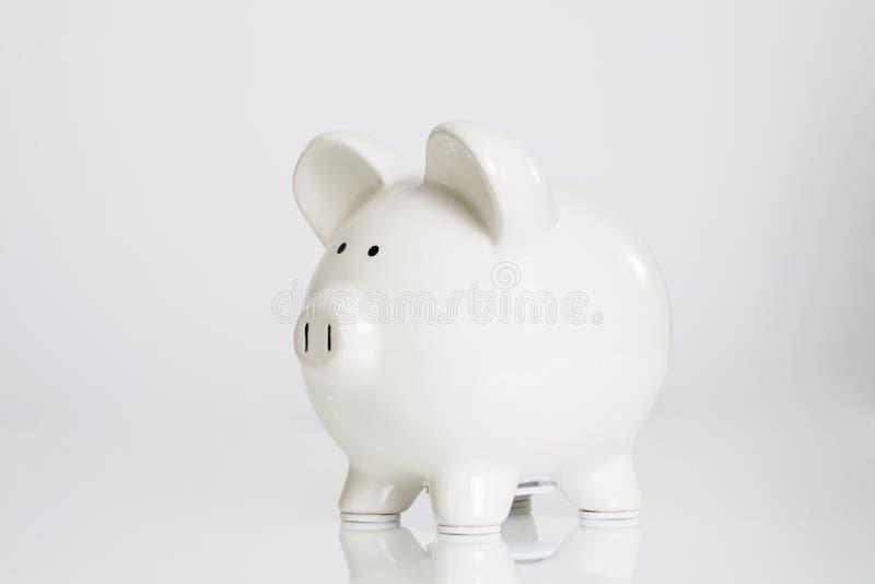 Banco Piggy branco imagens de stock