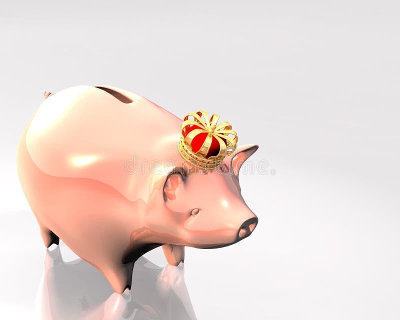 Banco Piggy com coroa ilustração do vetor