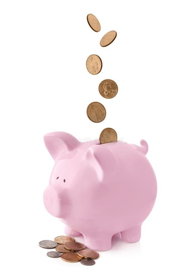 Banco Piggy com moedas de queda imagem de stock royalty free