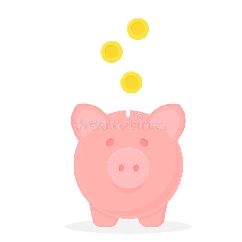 Banco Piggy com moedas de queda Engrena o ícone Excepto o dinheiro ilustração do vetor