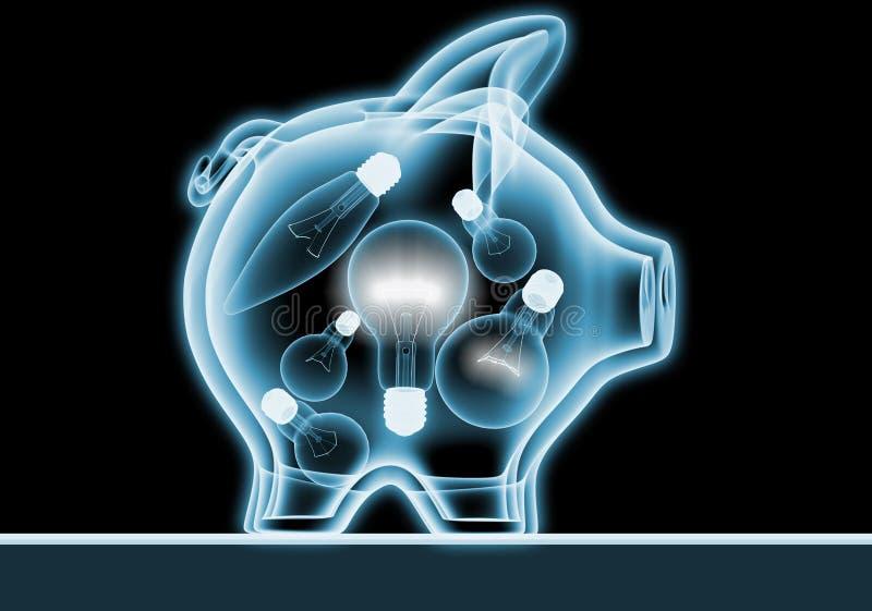 Banco Piggy com raios X ilustração do vetor