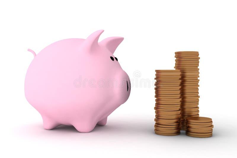 Banco Piggy Cor-de-rosa E Algumas Moedas Fotos de Stock