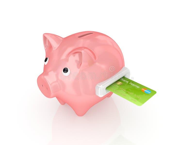 Banco piggy cor-de-rosa e cartão de crédito verde. ilustração royalty free