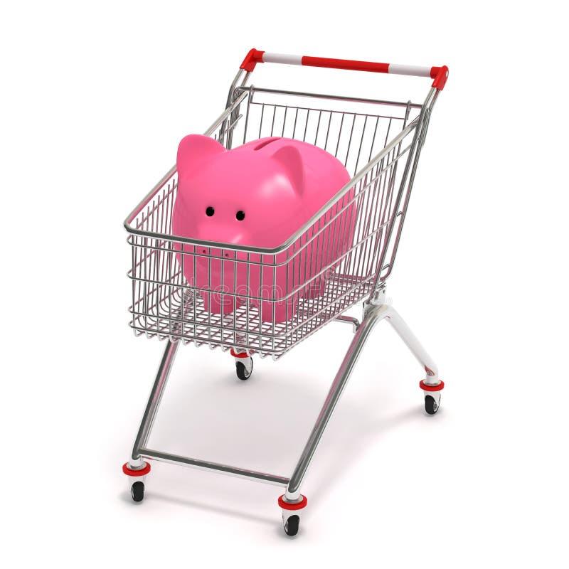 Banco piggy de carro de compra ilustração do vetor