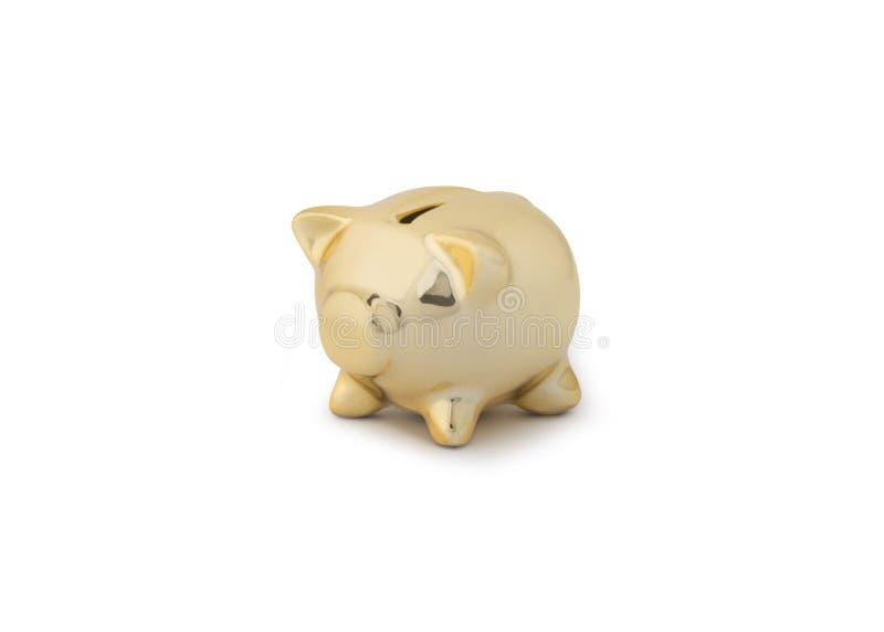 Banco piggy do ouro fotografia de stock royalty free