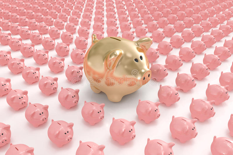 Banco piggy dourado grande que está para fora ilustração royalty free