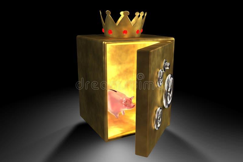 Banco Piggy e cofre forte dourado ilustração do vetor
