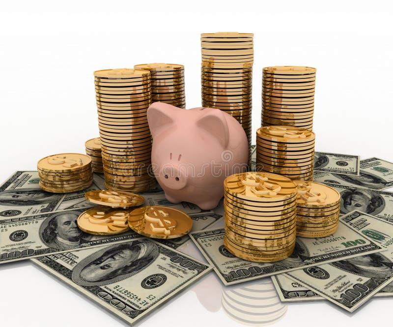 Banco Piggy e dólar ilustração royalty free
