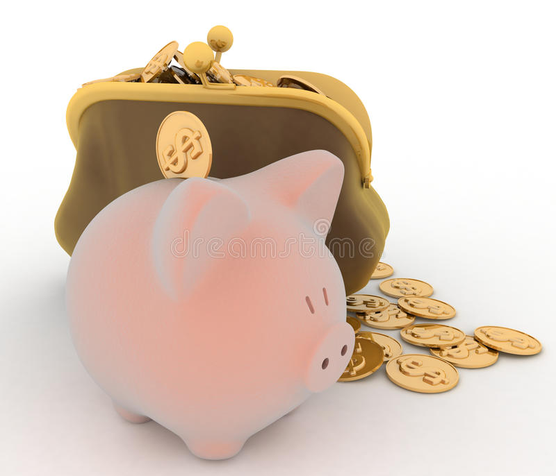 Banco Piggy e dólar ilustração do vetor