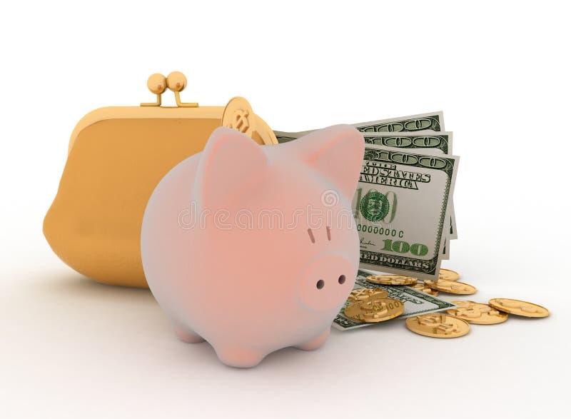 Banco Piggy e dólar ilustração stock