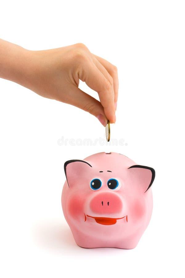 Banco Piggy e mão com moeda fotografia de stock