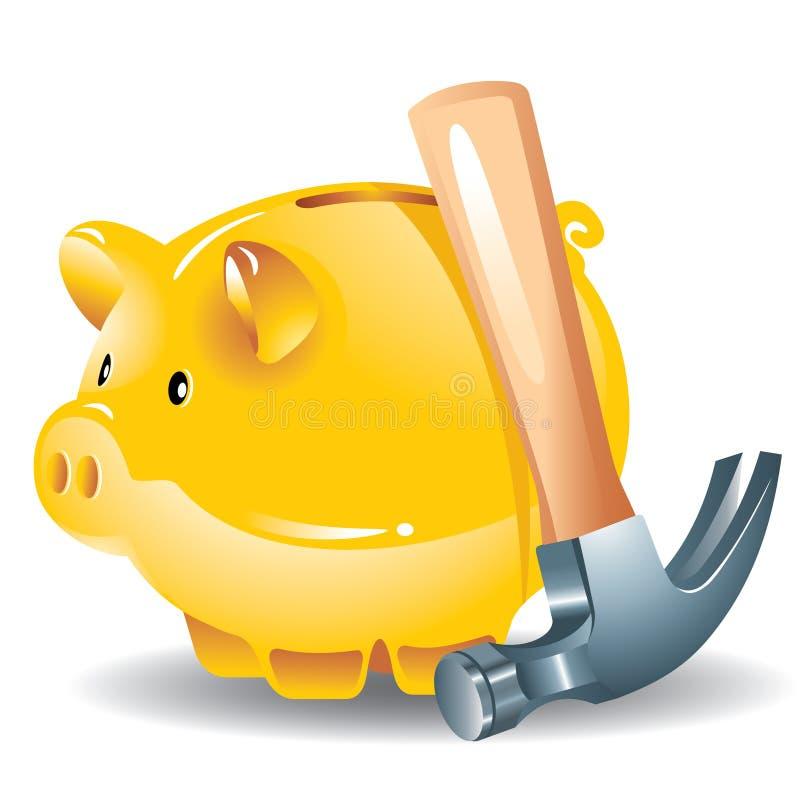 Banco Piggy e martelo ilustração do vetor