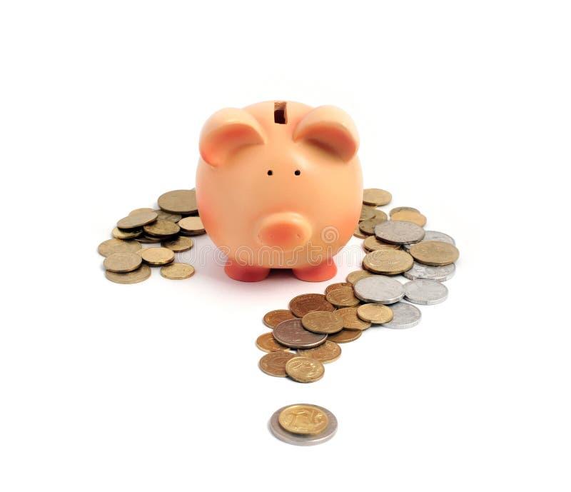 Banco Piggy e ponto de interrogação fotos de stock
