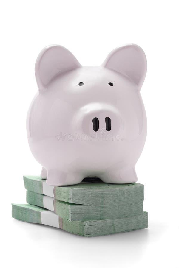 Banco Piggy em pilhas de dinheiro imagem de stock