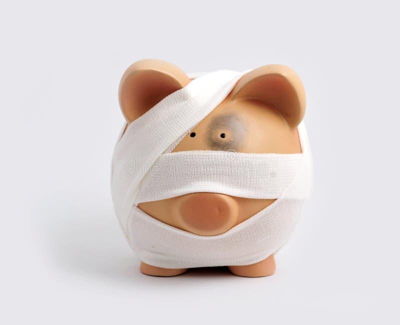 Banco piggy enfaixado imagens de stock royalty free