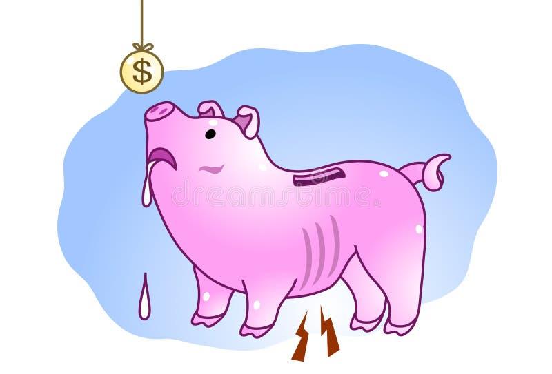 Banco Piggy morrendo de fome ilustração do vetor