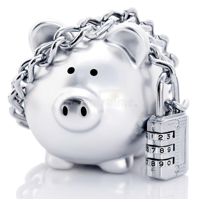 Banco piggy Padlocked fotos de stock