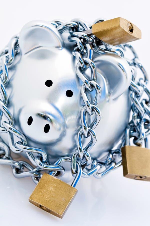 Banco piggy Padlocked foto de stock