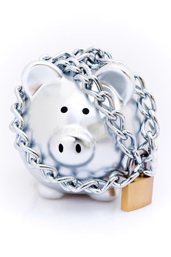 Banco piggy Padlocked imagem de stock