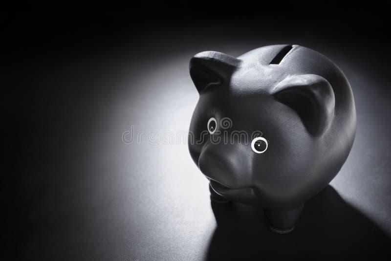 Banco piggy preto fotografia de stock
