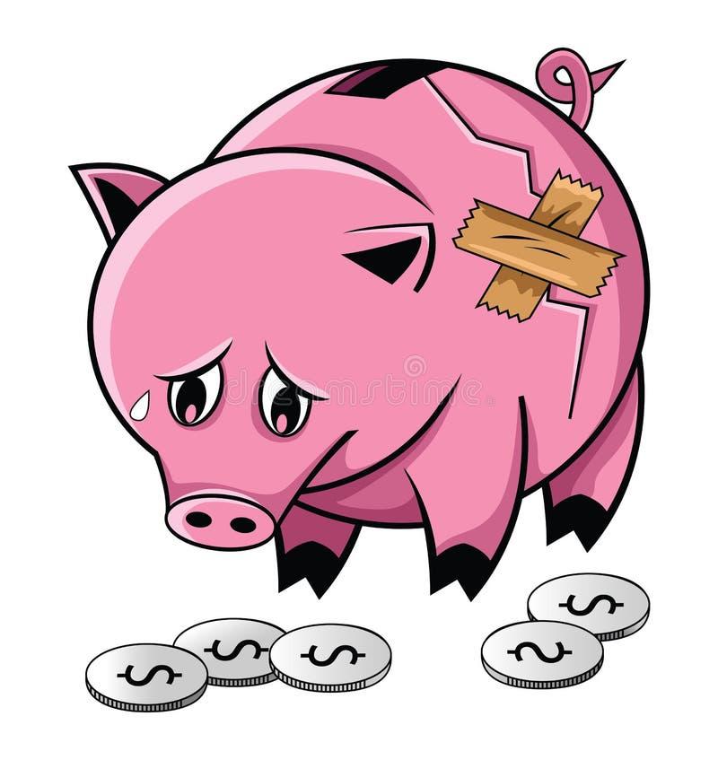 Banco Piggy quebrado ilustração royalty free
