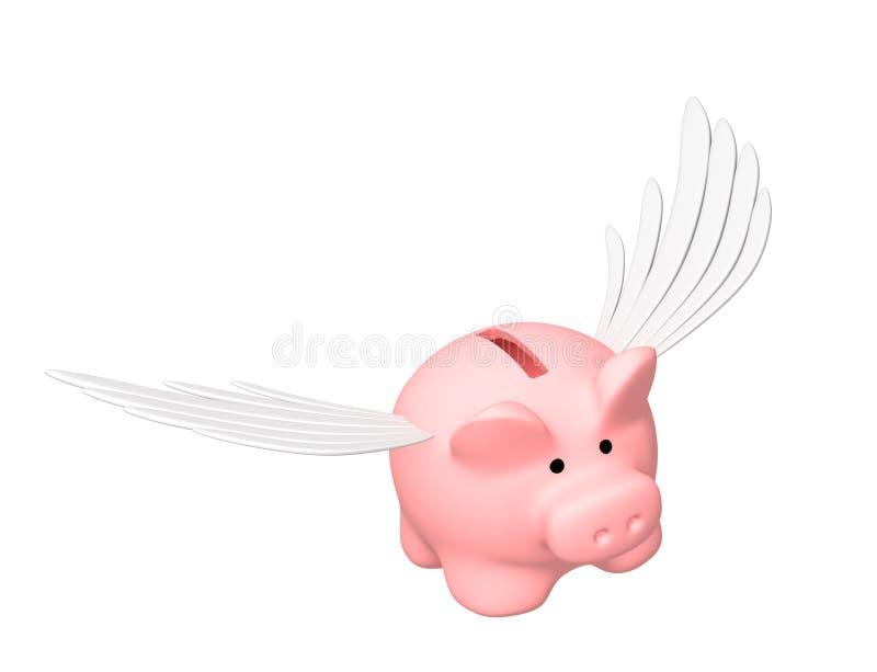 Banco Piggy, voando nas asas ilustração do vetor