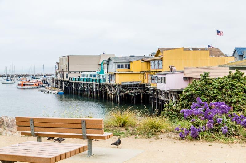 Banco que negligencia o passeio à beira mar de Monterey imagem de stock royalty free