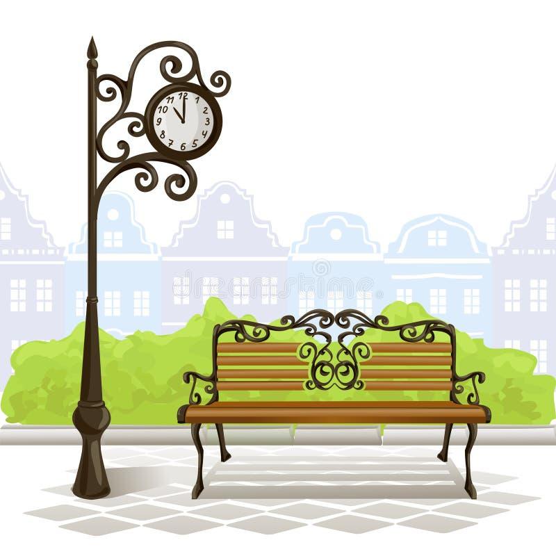 Banco, Reloj De La Calle, Ciudad Vieja Ilustración del Vector ...