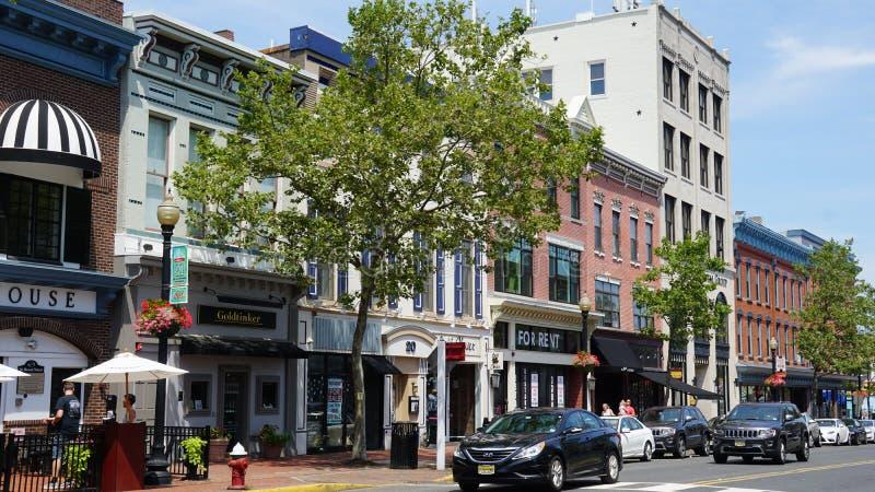 Banco rojo en New Jersey imagenes de archivo