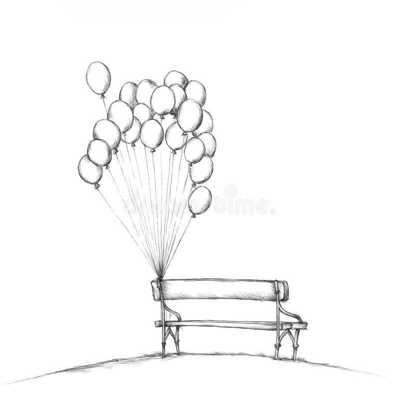 Banco romantico con i palloni royalty illustrazione gratis