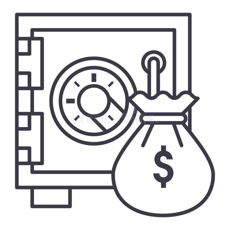 Banco seguro con la línea icono, muestra, ejemplo del vector del bolso del dinero en el fondo, movimientos editable libre illustration